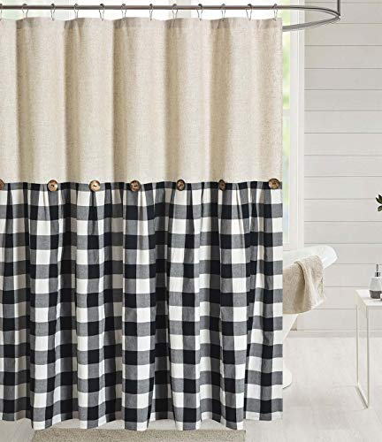 DOSLY IDÉES Linen Button Farmhouse Shower Curtain,Linen and Cotton Fabric,Pleated Black and White Check,Country Style,72x72 in