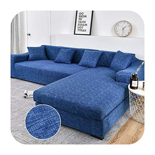 KASHINO Funda elástica para sofá de 2 piezas, con forma de L, para mascotas, antideslizante, para esquina, sofá, chaise longue, sofá seccional, color 23-2-plazas, 145-185cm1pc