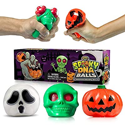 Spooky DNA Stress Balls (3-Pack)- Halloween Squishy Balls Gift - Pumpkin, Ghost and Skull Squeeze Balls for Kids and Adults - Stress Relief, Physical Exercise and Relaxation - ADHD Sensory Fidget Toy
