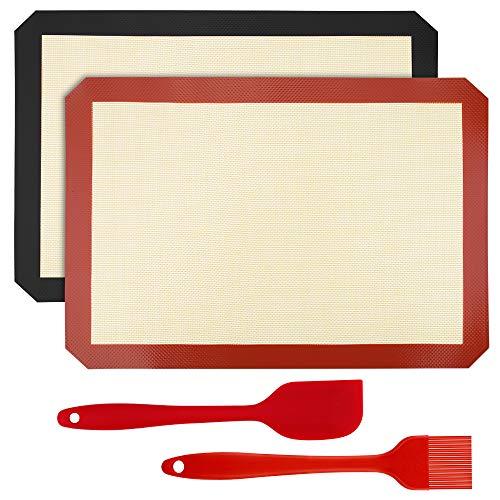 Mitening Backmatte Silikon, 2 Stück Dauerbackfolie Backpapier Wiederverwendbar Silikonmatte Baking Mat BPA-frei Nonstick Backfolie Backunterlage mit Silikon Spatel und Backpinsel für Backofen