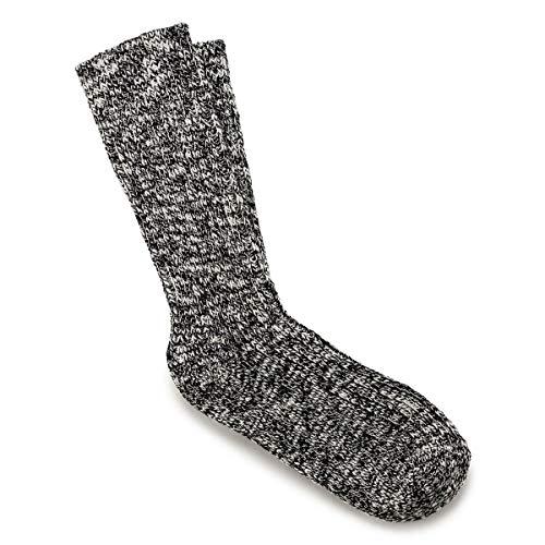 Birkenstock Chaussettes De Bottes Slub Coton, Noir/gris En L