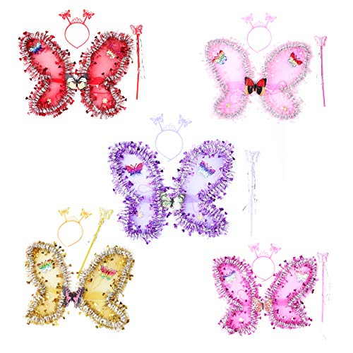 Amosfun alas de Mariposa, Hada y ángel para niñas, alas de Disfraces de Hadas de Mariposa, Regalos de cumpleaños para niños, Disfraces de Halloween