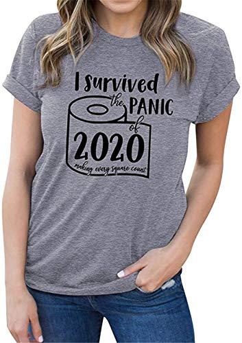 XIANGLIOOD Vrouwen Grappig T-Shirt Ik Overleefde De 2020 Toiletpapier Shortage Letter Print T-shirt met korte mouwen Top Blouse
