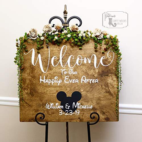 qidushop Personalisierbares Hochzeitsschild aus Holz mit Willkommensschild, Hochzeitsschild,...