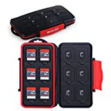 Skoloo SD Card Case, Waterproof Memory Card Holder, 12 SD Card Cases Storage + 12 Micro SD Card Holder for SDHC SDXC TF Card, 1 Pack Red