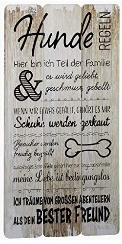 Bada Bing Wandschild Hunderegeln Ca. 30 x 60 cm Hund Bild Plankenoptik Spruch Schild 03