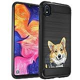 CasesOnDeck Dog Design Case Compatible with Samsung Galaxy A10e (2019) (5.5') - Slim TPU Flexible Matte Carbon Fiber Texture Cover (Corgi)