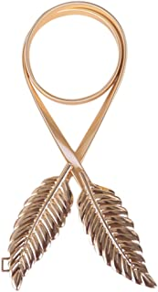 Women's Leaf Design Vintage Style Belt Elastic Clasp Metal Waist Femme Waistband
