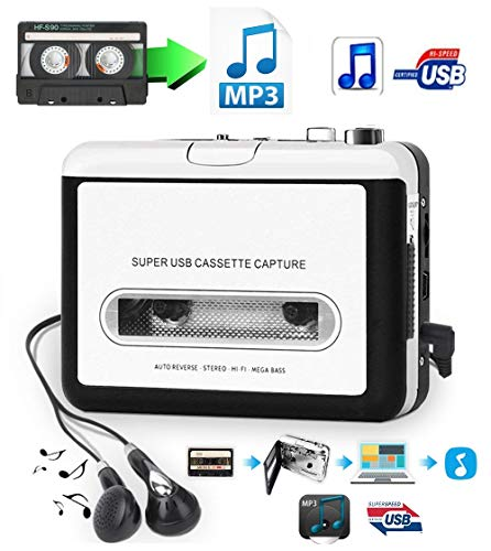 USB Cassette-to-MP3 Converter Capture, Actpe Audio Super USB Portable Cassette/Tape to PC MP3 Switcher Converter with Headphone