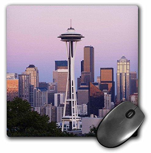 "3dRose Desk Organization Mouse Pad, WA, Seattle, Space Needle, Mt. Rainier - US48 JWI0953 - Jamie and Judy Wild, 8"" x 8"" (mp_95869_1)"