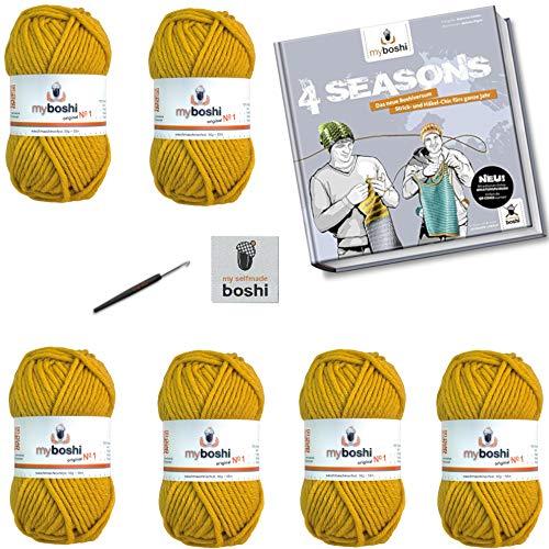 myboshi No.1 Wolle Häkel-Set 6x50gr Farbe 112 senf |+ Buch Four Season | + passende Häkelnadel Stärke 6,0mm | + 3 Labels zum Aufbügeln