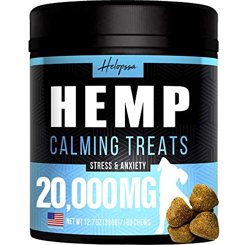 Hemp Calming Treats for Dogs - Made in Usa - 180 Soft Dog Calming Treats - Aids Stress, Anxiety, Storms, Barking, Separation and More - Valerian Root, L-Tryptophan, Chamomile - Hemp Oil for Dogs