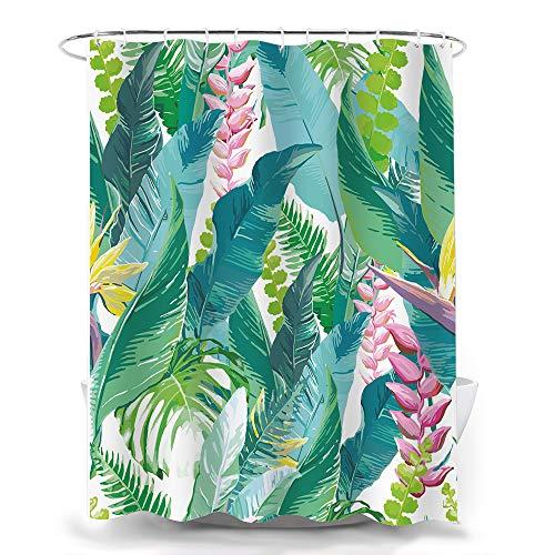 FLORIST Duschvorhang mit Blättern, Aquarell-Blumenmuster, tropische Blumen, Bananen, Dschungelblätter, Polyester-Stoff, Duschvorhang, Badezimmer-Set, Dekoration mit Haken, 183 x 183 cm