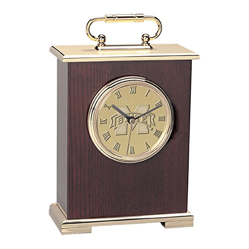 NCAA Mississippi State Bulldogs Adult Le Grande Carriage Clock, Gold image