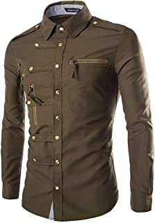 Qiyun Autumn Shirt Men Spring and Autumn Retro Simple Fashion Long Sleeve Shirt Tops