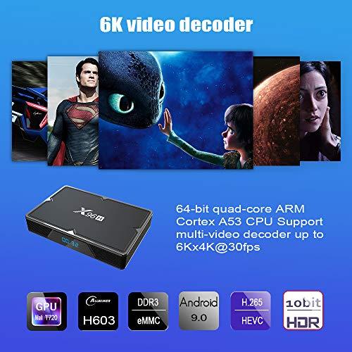 X96H Android 9.0 TV Box, Android TV Box 4G RAM 64G ROM 3D 8K Ultra HD H603 Quad-Core 64-bit, 2.4/5.0GHz WiFi Bluetooth 4.1 +HS, High-Performance Multi-Core GPU Mali T720 por Mikario (4G+64G) miniatura
