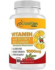 HOGE STERKTE VITAMINE C 1000 mg Door JeaKen - Natuurlijke vitamine C verrijkt met rozenbottels en bioflavonoïden - 180 veganistische vitamine C-tabletten (6 maanden levering) - Allergeenvrije vitamine C voor immuunsysteem