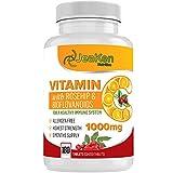 VITAMINE C 1000mg par JeaKen - Vitamine C Naturelle Enrichis de Rose Musquée et de Bioflavonoïdes - Acide Ascorbique Naturelle - 180 Comprimés Vit C Végétaliens (Approvisionnement de 6 Mois)