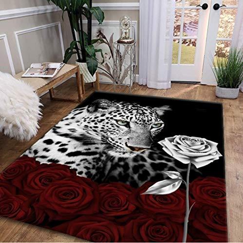 Leopardo Rosa Impresión 3D Alfombra Dormitorio Sala de estar Cojín antideslizante Sofá Mesa de centro80 * 160Cm