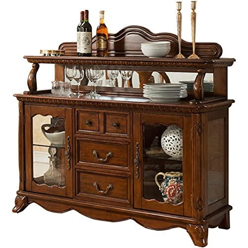 Tolalo Aparador de almacenamiento de cocina, arares de madera maciza antiguo gabinete apilable para el alquiler de cena en casa...