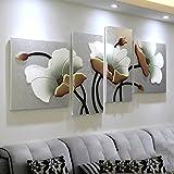 Pitture murali soggiorno divano sfondo dipinti murali ristorante camera da letto dipinti quadri tridimensionali rilievi semplici dipinti murales moderni (loto) ( Color : Silver , Size : 80x200cm )