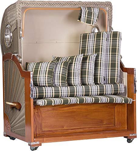 foolonli Strandkorb 2,5 Sitzer aufgebaut grün weiß gestreift mit Bullauge Mahagoni Holz XXL - 2