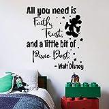 You Need Faith Mickey Quote Walt Disney Cartoon Quotes Wall Sticker Art Decal Girls Boys Room Bedroom Nursery Kindergarten House Fun Home Decor Stickers Wall Art Vinyl Decoration Size (10x10 inch)