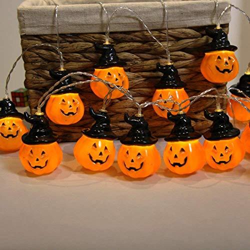 AOIWE - Guirnalda de luces de calabaza, fantasma, luces LED para decoración al aire libre (color: Bowler Pumpkin4, tamaño: 1,5 m 10 luces).