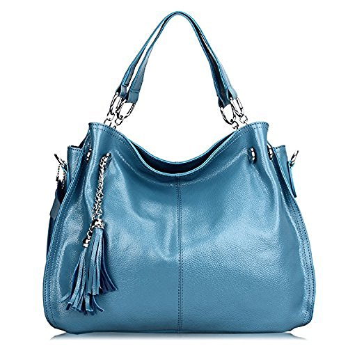 YSW European and American fashion handbags leather bags Light blue 28CM38CM14CM