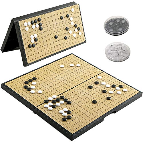 Luoyer Go Game Set Foldable 11inch (28cm),Go Board Game 19x19 Portable with Magnetic Plastic Stones and Storage Classic Chinese Chess Weiqi Strategy Board Game