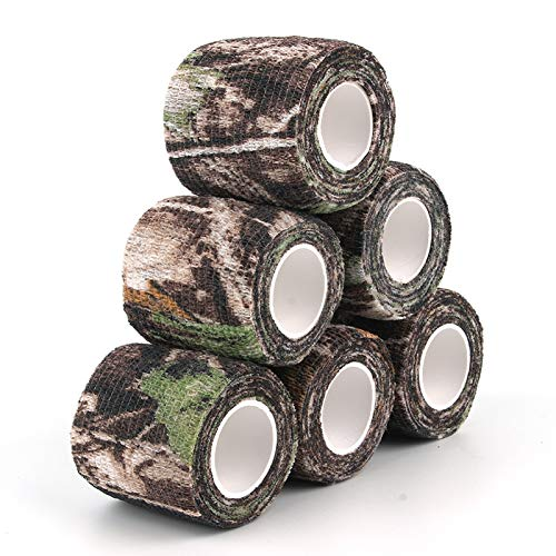 """AIRSSON 6 Roll Camouflage Tape Cling Scope Wrap Military Camo Stretch Bandage Gun Rifle Shotgun Camping Hunting 2"""" x 177"""" x 1 yds Self-Adhesive"""