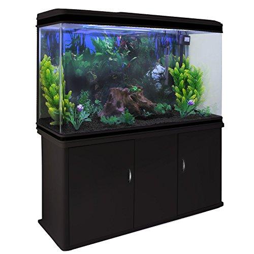 MonsterShop - Acuario 300 litros con Mueble Negro y Grava Negra 143cm x 120cm x 39cm