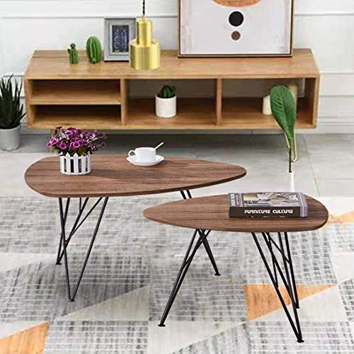 GOLDFAN Triangle Wood Coffee Table Set Nest of 2 Tables Modern Sofa Coffee Side Table for Living Room Office