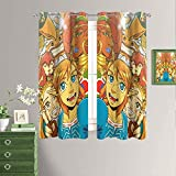 The Legend of Zelda: Breath of the Wild Cortinas opacas para teatro con aislamiento térmico con ojales en la parte superior y cortinas opacas para sótano de 163 x 182 cm