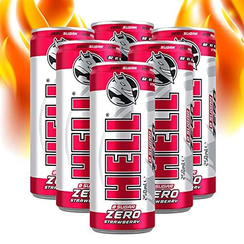 Hell Energy Drinks ZERO mit Erdbeere Geschmack | 6 x 250 ml ZUCKERFREI | Koffeingehalt 32 mg / 100 ml, VITAMINE B2, B3, B5, B6, B12, Pasteurisierte | OHNE Pfand Dosen Getränke