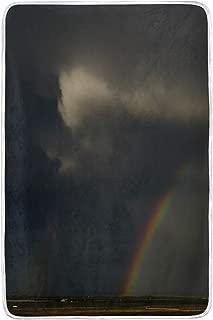 Plush Throw Blanket Wrinkle Resistant Suitable for All Seasons Large Rainbow Sky Atmosphere Cloud Woolen Blanket Heated 60x90 Inch