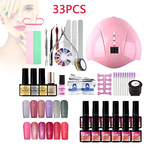 Fototherapie Gel Nagellak Manicure Set, Gel Nagel Starter Kit Met 12 * 8Ml Gel Nagellak En 36W Uv Lamp Led Droger Voor Thuis, Professionele Salon, Nagelsalon