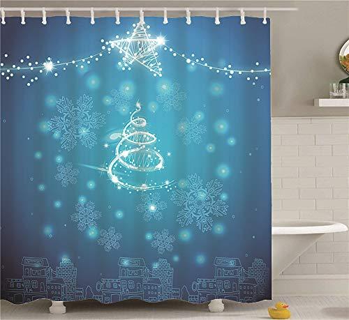 ZZZdz kleine kroonluchter in de vorm van een vijfpuntige ster. Huisdecoratie. Douchegordijn. 180 x 180 cm. 12 vrije haken. 3D Hd-druk. Rijke patronen.