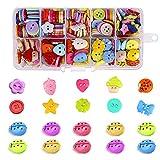 Zasiene Bottoni Colorati per Decorare Bambini 340 Pezzi Bottoni Resina Colorati Misti in Diverse Colori con Bottoni Coccinella per Cucito Fai da Te Decorativo e Fai da Te a Mano Ornamento