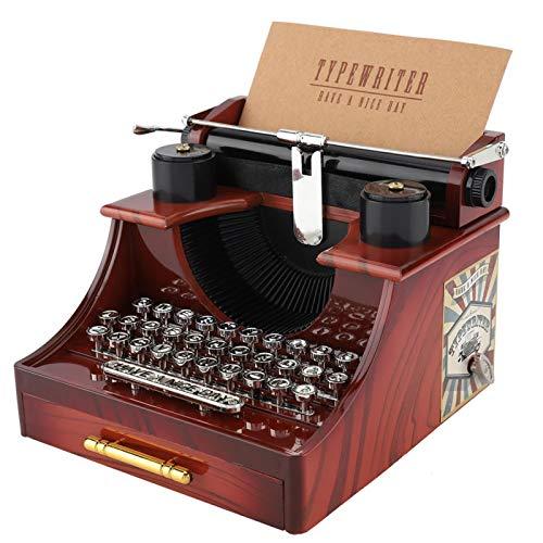Caja de música Retro, Caja de música de Estilo Antiguo de máquina de Escribir con cajón, Caja de música mecánica, diseño Elegante y Exquisito, Adecuado para colección, Decoraciones navideñas, Regalos