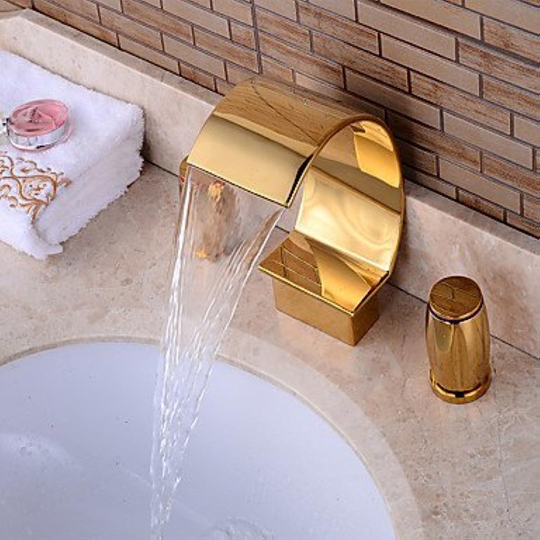 Zeitgenssischer 3-Loch-Wasserfall mit Keramikventil Zwei Griffe Drei Lcher für Ti-PVD, Badewannenarmatur