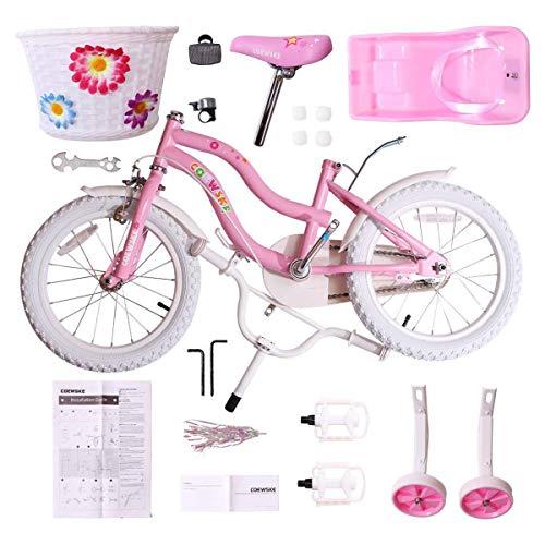 "COEWSKE Kid's Bike Steel Frame Children Bicycle Little Princess Style 14-16 Inch with Training Wheel(14"" Pink)"