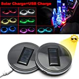 Xotic Tech 2pcs LED Car Cup Holder Lights 7 Colors Solar Changing USB Charging Mat Luminescent Cup Pad,Auto Interior Atmosphere...