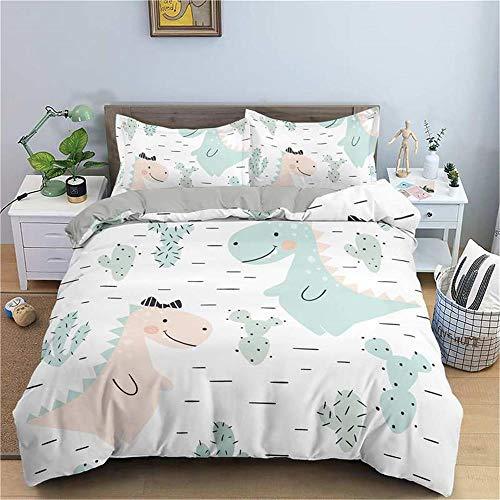 MENGBB 3D Cot Duvet Cover and Pillowcase Set White simple animal dinosaur 260x220cm Total 4 Size, give away pillowcase, 3D Bedding Set - Quilt Cover with Zipper Closure + Pillowcases, Microfiber Duvet