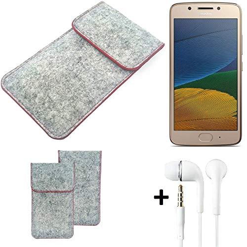 K-S-Trade® Handy Schutz Hülle Für Lenovo Moto G5 Dual-SIM Schutzhülle Handyhülle Filztasche Pouch Tasche Hülle Sleeve Filzhülle Hellgrau Roter Rand + Kopfhörer