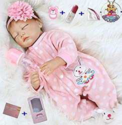 💝 Size: about 22 inches (55cm); Weight: about 1.5 kg .The doll is handmade, there will be some size error and weight.The baby can adapt to newborn-sized baby clothes. A magnetic pacifier can fit your mouth. 💝 Package that includes: Reborn baby doll g...