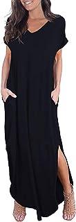 Women's Casual Loose Pocket Long Dress Short Sleeve Split...