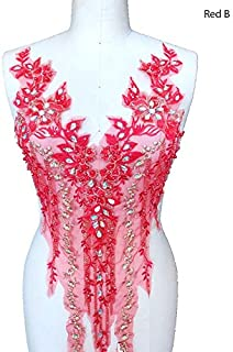 Lace Applique 3D Beaded Embroidered Floral Rhinestone Trim Patches Great for DIY Neckline Bodice Wedding Bridal Prom Dress A2AB (B, Red)