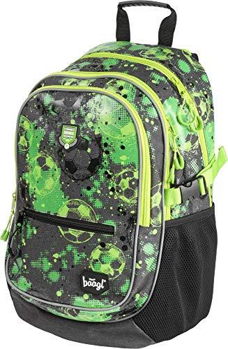 Baagl Kinderrucksack, Schulrucksack für Kinder mit ergonomisch geformter Rücken, Brustgurt und reflektierende Elemente (Football Club)
