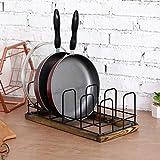 MyGift 5 Slot Rustic Burnt Brown Wood & Industrial Black Metal Wire Kitchen Cooking Pans, Pot Lid Rack Holder Organizer